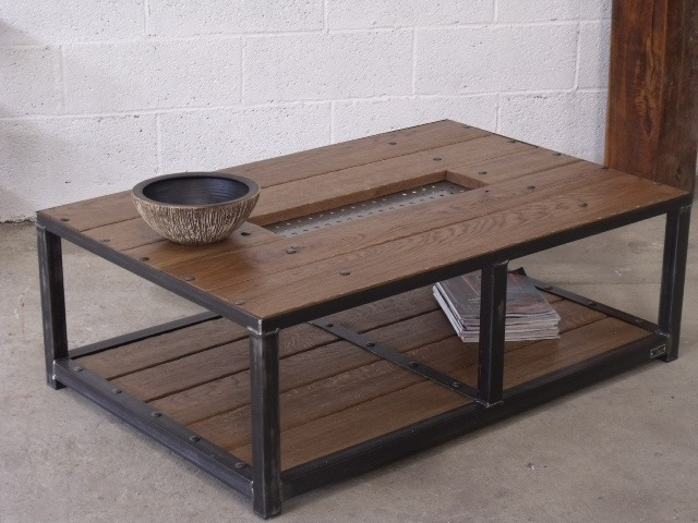 Table basse bois metal - Table salon bois metal ...