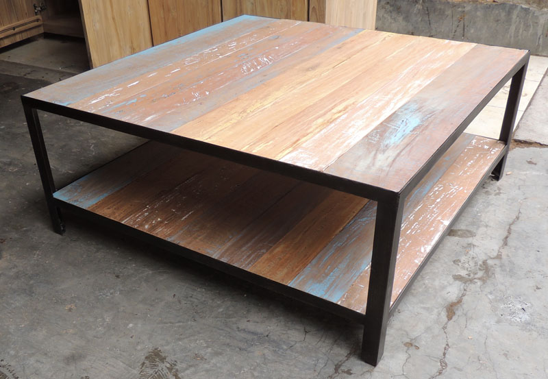 Table basse bois metal for Table metal et bois