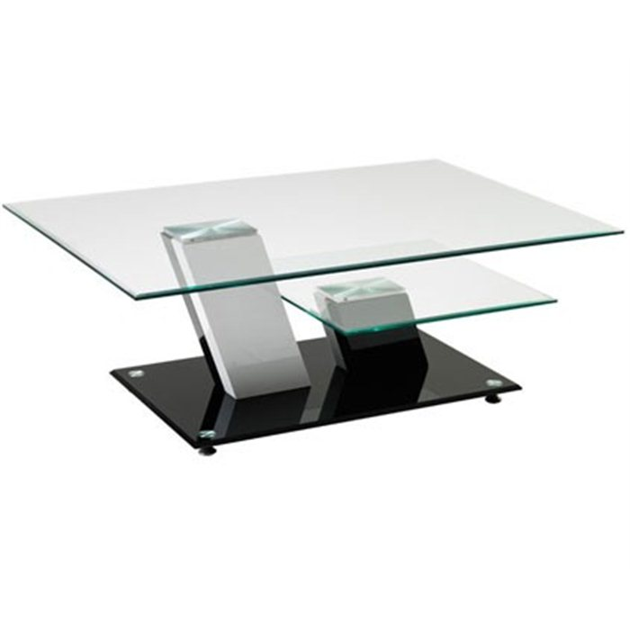 Table basse design en verre pivotant - Table moderne en verre ...