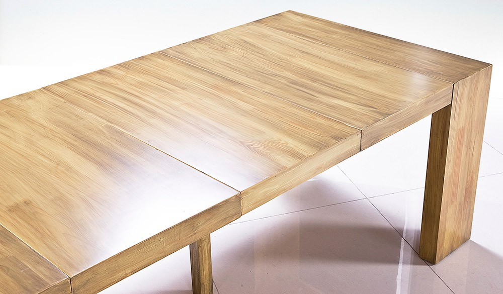 Table chene clair avec rallonge for Table chene massif extensible