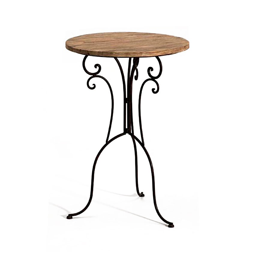 Table de bar fer forge et bois - Table bois fer forge ...
