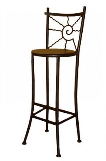 Table de bar fer forge et bois - Tabouret de bar rond ...