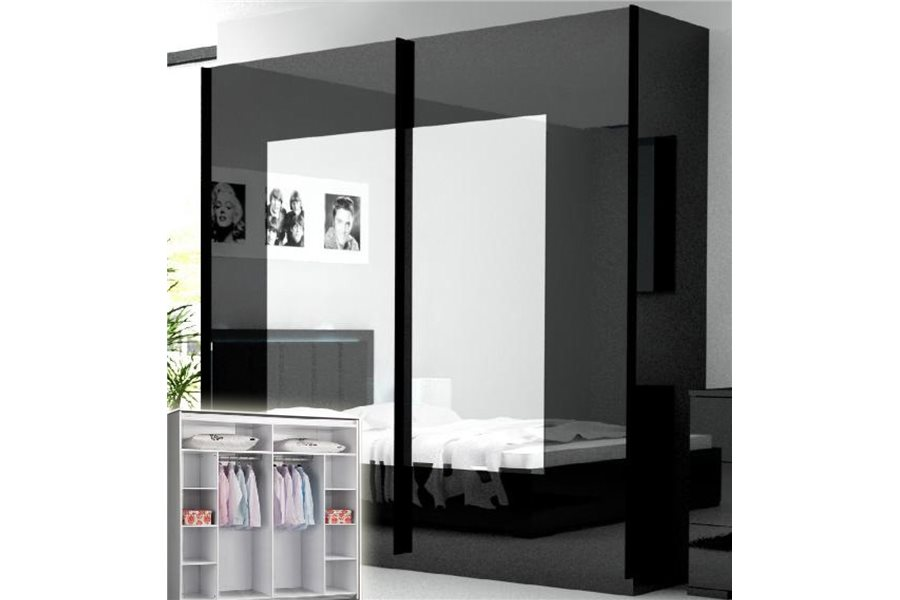 armoire chambre noir laque