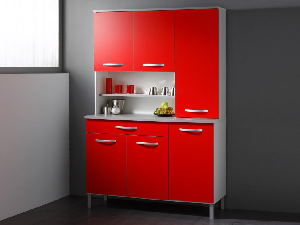 buffet de cuisine moderne 6 portes rouge italian. Black Bedroom Furniture Sets. Home Design Ideas