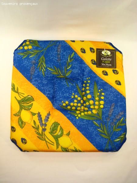 Galette de chaise tissu provencal for Galette de chaise 45x45