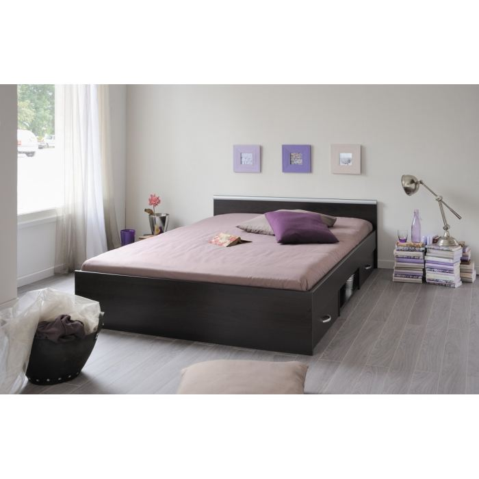 lit 2 personnes avec sommier. Black Bedroom Furniture Sets. Home Design Ideas