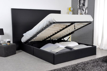lit 2 personnes avec sommier. Black Bedroom Furniture Sets. Home Design Ideas