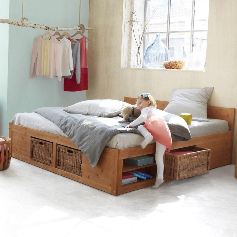 lit 2 personnes rangements paniers inclus helsinki en pin massif. Black Bedroom Furniture Sets. Home Design Ideas