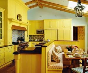 meuble de cuisine jaune et blanc