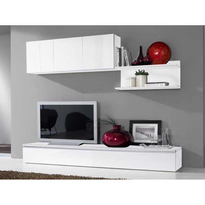 Meuble tv bas long blanc for Meuble bas tv blanc