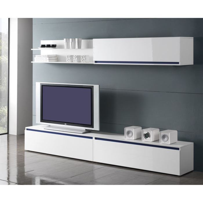 meuble tv bas et long blanc. Black Bedroom Furniture Sets. Home Design Ideas