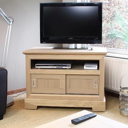 Meuble tv haut chene massif for Meuble tv longueur 100