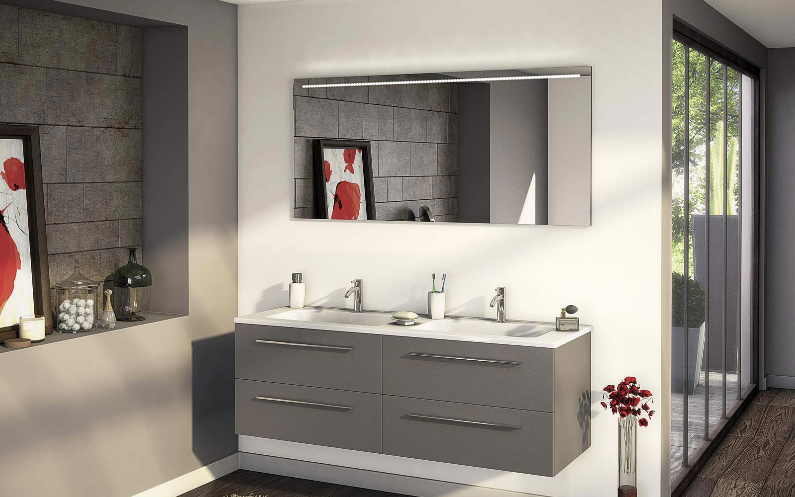 Meuble vasque cedeo for Agencement salle de bain 8m2