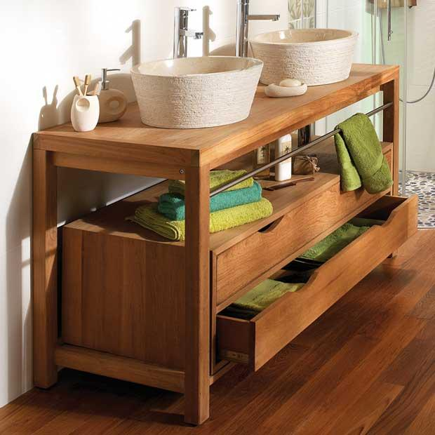 meuble vasque teck massif. Black Bedroom Furniture Sets. Home Design Ideas