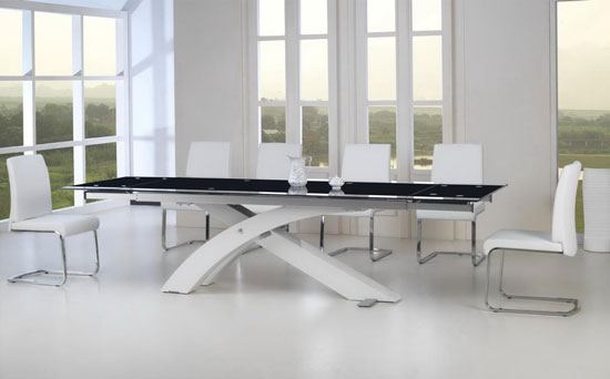 Table a manger verre extensible for Table en verre extensible design