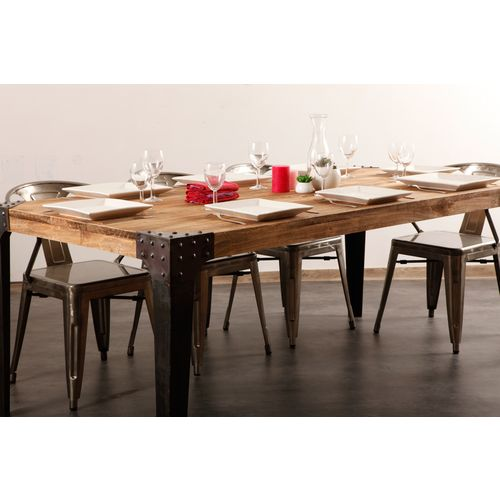 table a manger industrielle acier et bois madison. Black Bedroom Furniture Sets. Home Design Ideas