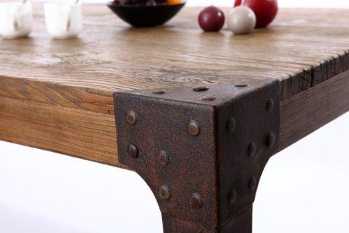Table a manger industrielle acier et bois madison - Modele table a manger en bois ...