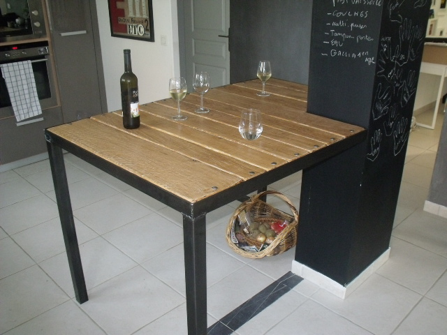 table a manger style industriel en ligne. Black Bedroom Furniture Sets. Home Design Ideas