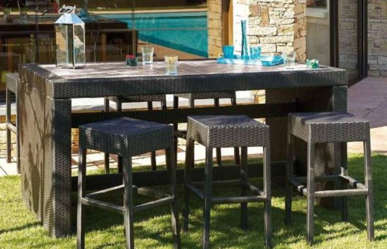 Table bar de jardin pas cher Table haute jardin design