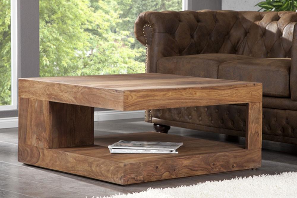 Petite table basse de salon en bois - Table basse bois massif exotique ...