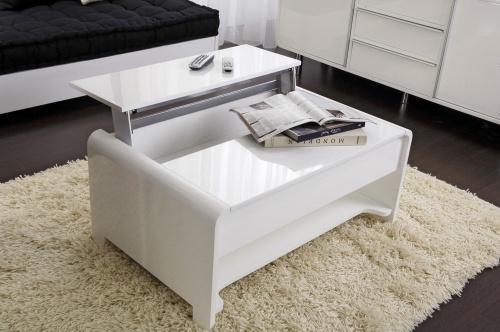 Table basse laque blanc - Table de salon bar ...