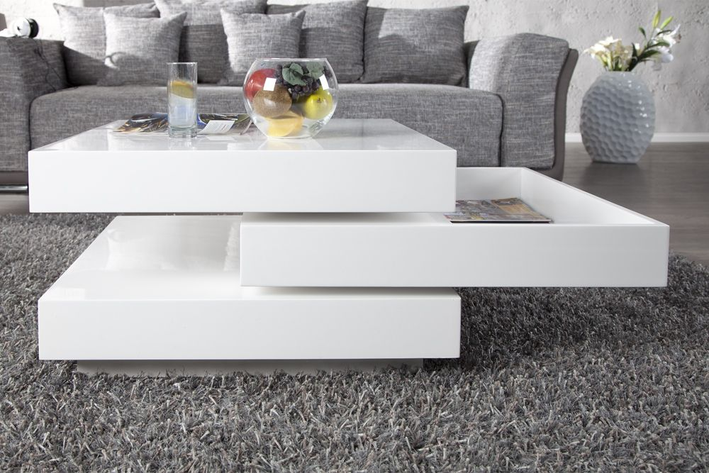 Table basse laque blanc - Table de salon laque blanc ...