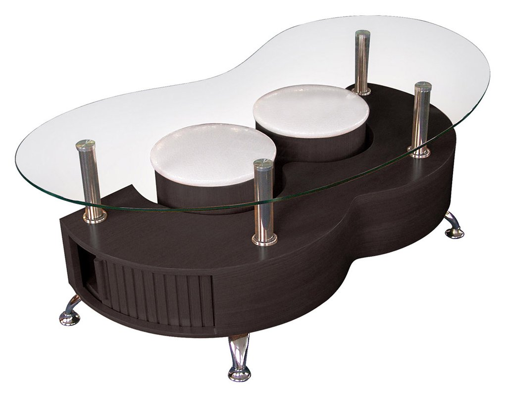 Table basse s lidos avec 2 poufs decor wenge - Table basse avec tabourets integres ...