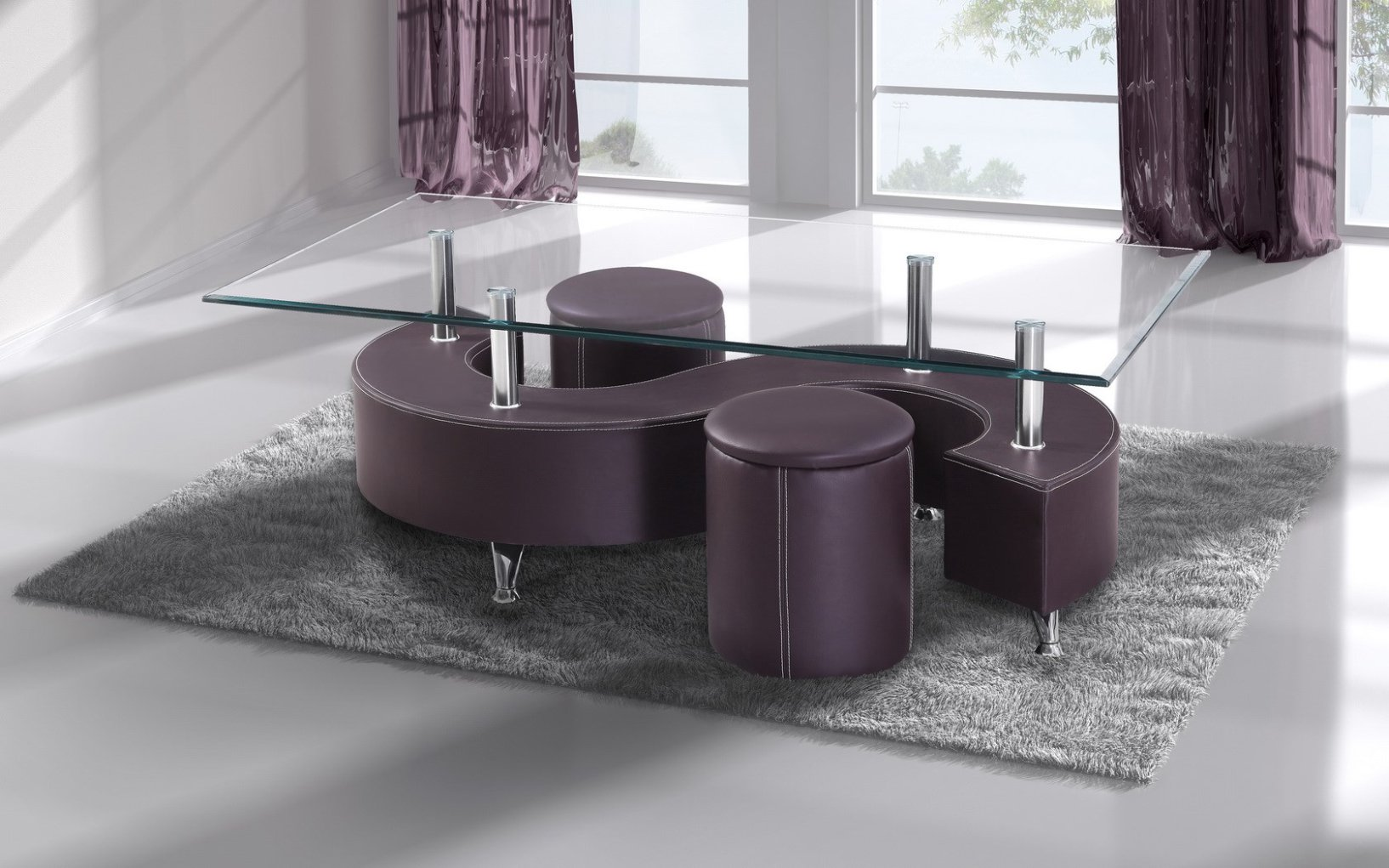 Table basse s lidos avec 2 poufs decor wenge for Table basse s avec pouf