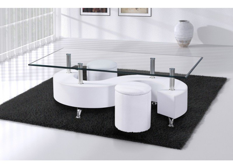 Table basse s lidos avec 2 poufs decor wenge - Table de salon avec pouf ...