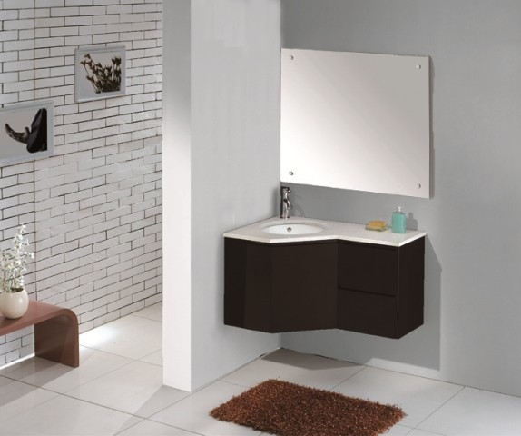 Armoire salle de bain en coin - Meuble salle de bain coin ...