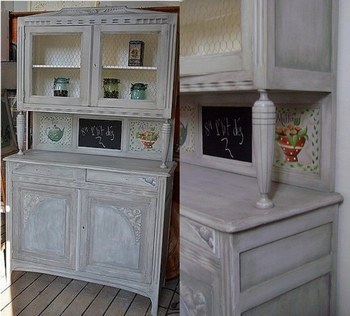 Buffet de cuisine grillage for Meuble patine blanc gris
