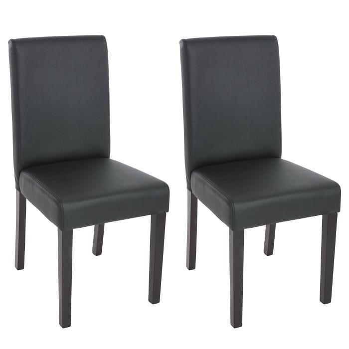 Chaise de salle a manger simili cuir noir for Chaise cuir noir