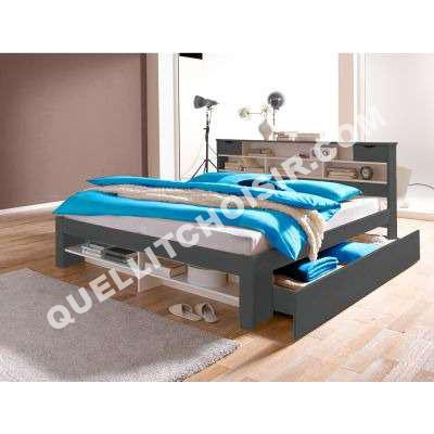 lit 2 personnes fez en pin massif avec sommier. Black Bedroom Furniture Sets. Home Design Ideas