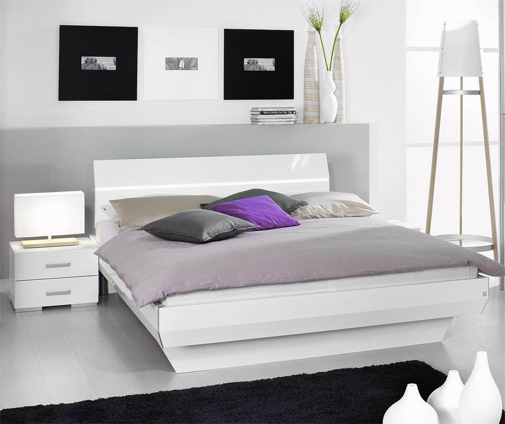 lit 2 personnes laque blanc. Black Bedroom Furniture Sets. Home Design Ideas