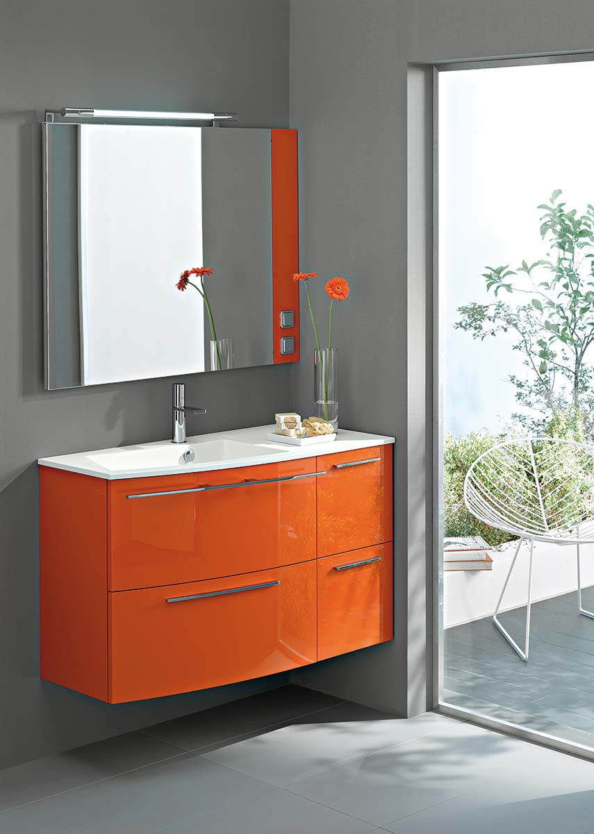 meuble salle de bain orange. Black Bedroom Furniture Sets. Home Design Ideas
