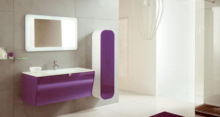 Meuble salle de bain violet for Salle de bain violet