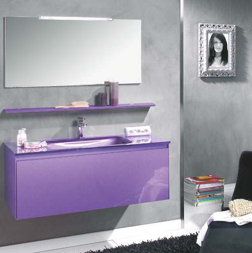 meuble salle de bain violet. Black Bedroom Furniture Sets. Home Design Ideas