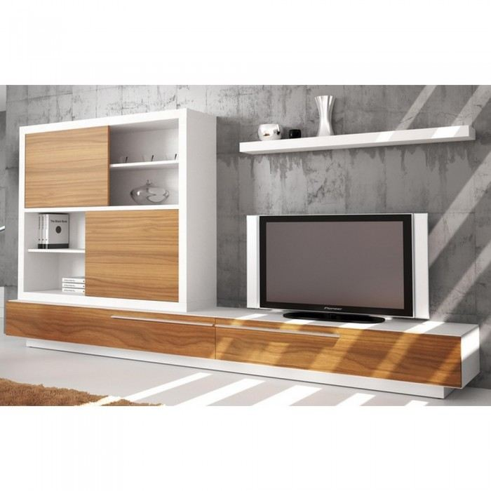Meuble tv bas et long design for Meuble tv blanc bas