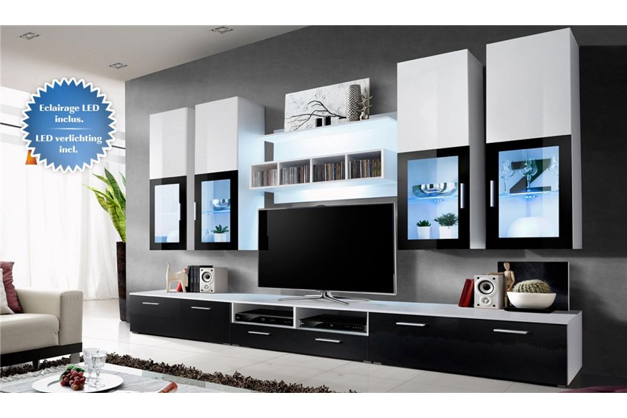 Meuble tv bas et long blanc solutions pour la d coration for Meuble bas tele