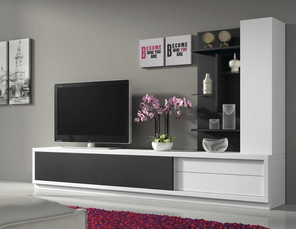 meuble tv mural haut. Black Bedroom Furniture Sets. Home Design Ideas
