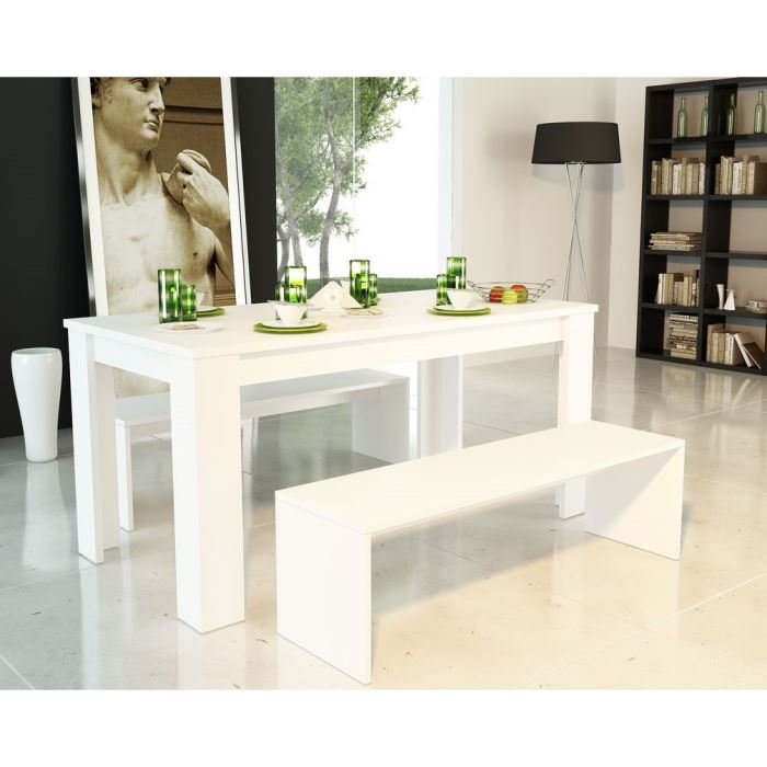 table a manger avec banc -> Banc De Table Blanc