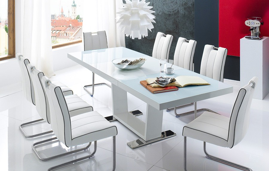 Table a manger blanc laque extensible for Mobilier salle a manger design