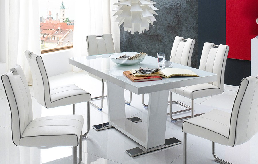 Table a manger blanc laque extensible for Table carree extensible blanc laque
