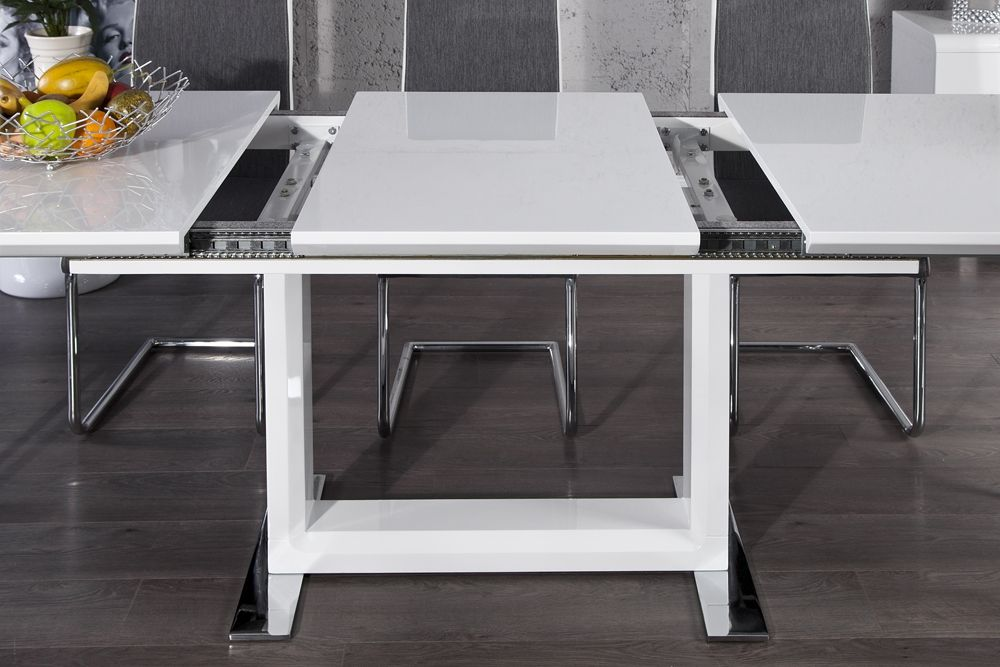 Table a manger blanc laque extensible for Table 4 places extensible