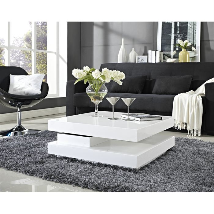 Table basse cdiscount - Table de salon ronde laquee blanc ...