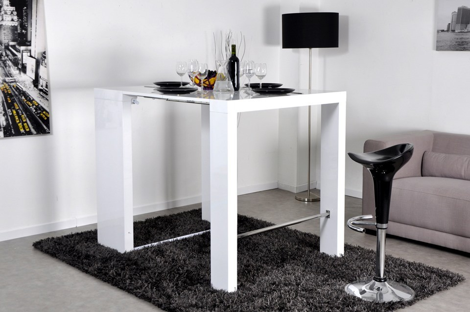Table console haute extensible - Table console extensible blanc laque design ...