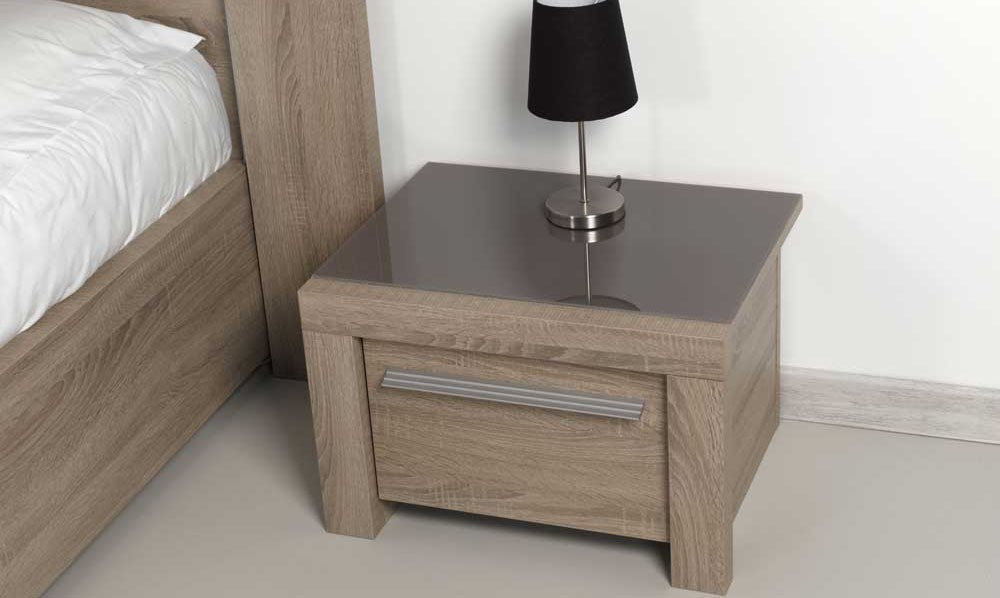 Table de chevet gris brun - Table de chevet grise ...