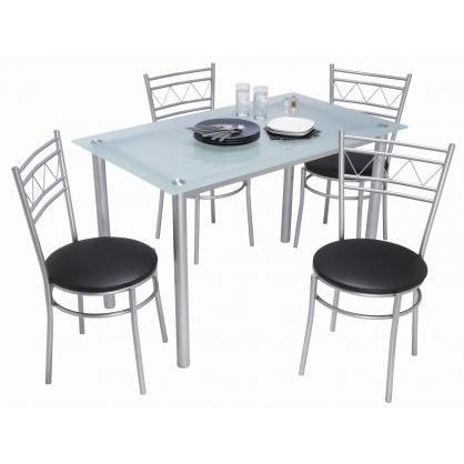 Table et chaise de cuisine grise for Table de cuisine 4 chaises