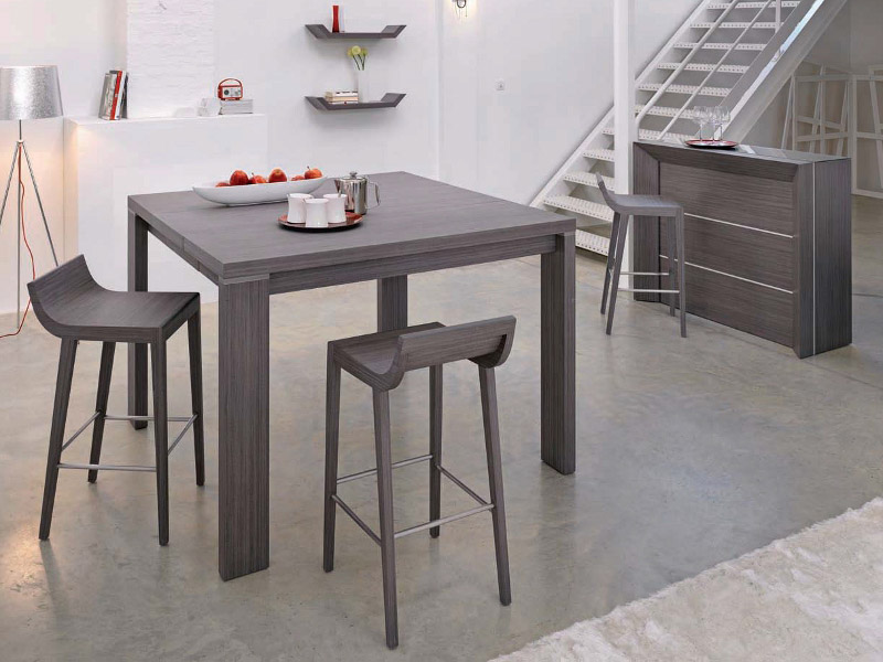 Photo table et chaise de cuisine grise for Table de cuisine plus chaises