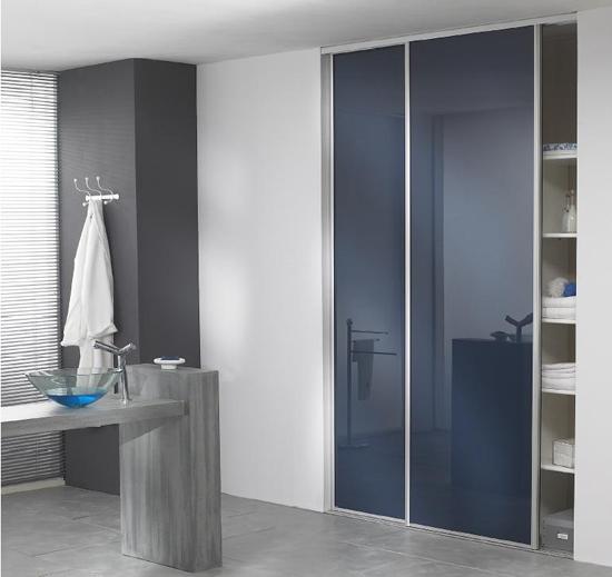 Meuble salle de bain a porte coulissante salle de bains - Porte coulissante salle de bain verre ...